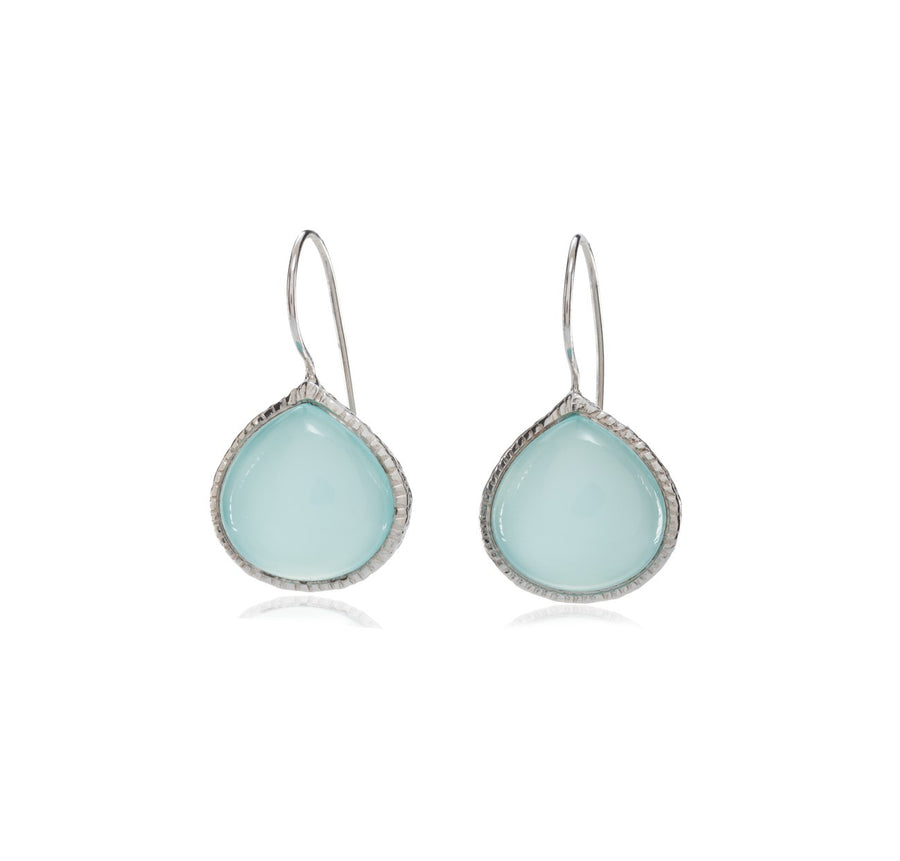 Sterling Silver Aqua Chalcedony Earrings (ESI115014)