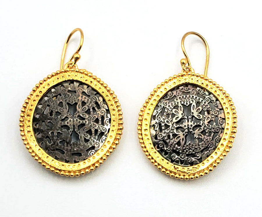 18k Gold Vermeil Black Mother of Pearl Earrings (EL041)