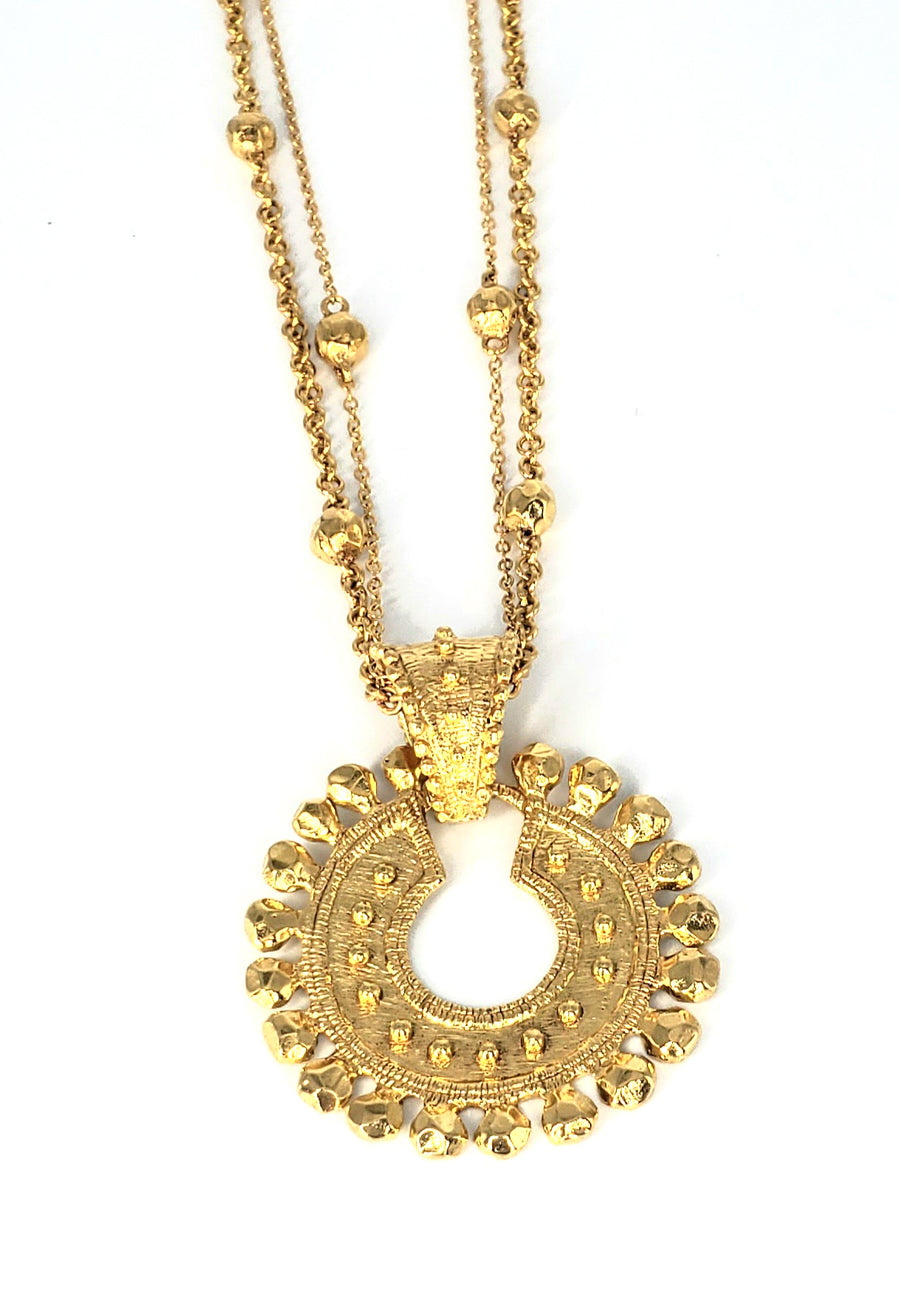 18k Gold Plated Double Strand Necklace (ETR081)