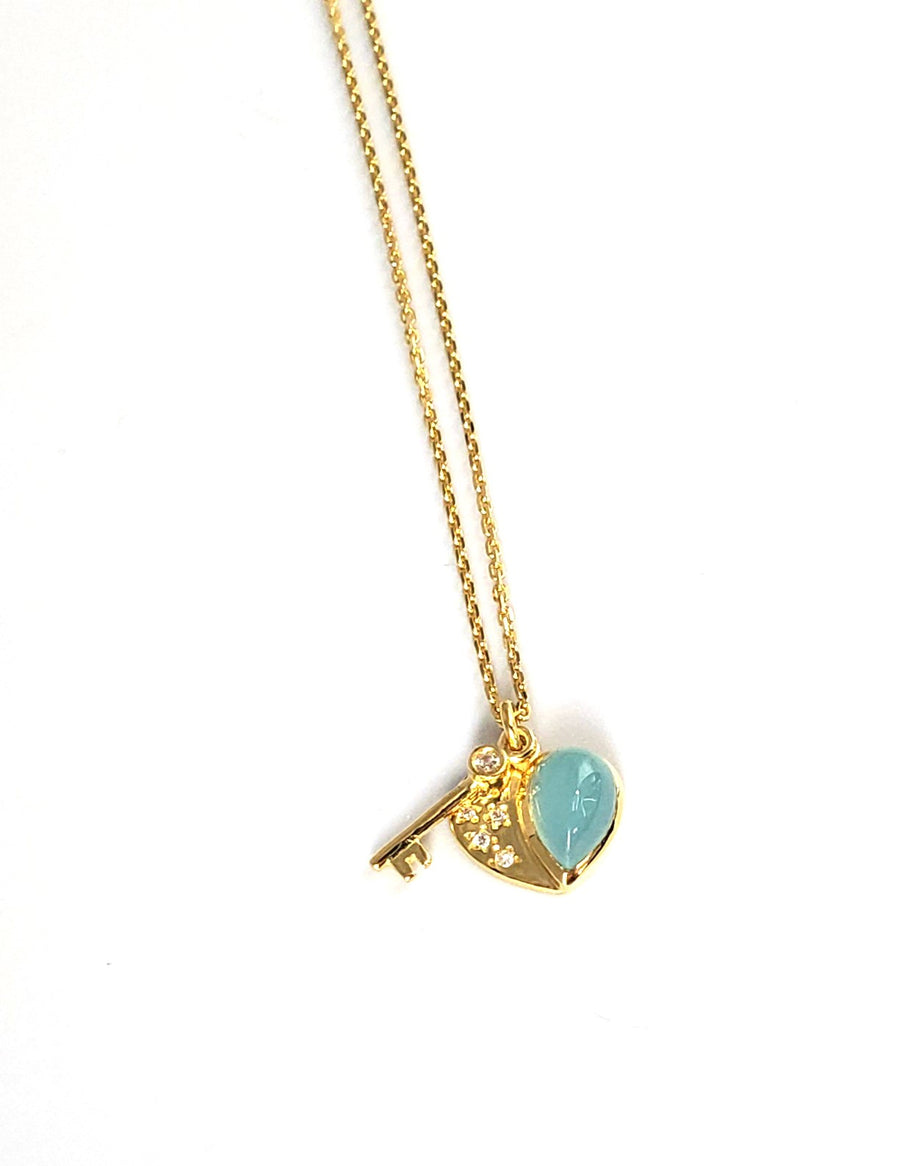 14k Gold Plated Heart with Key 16-18