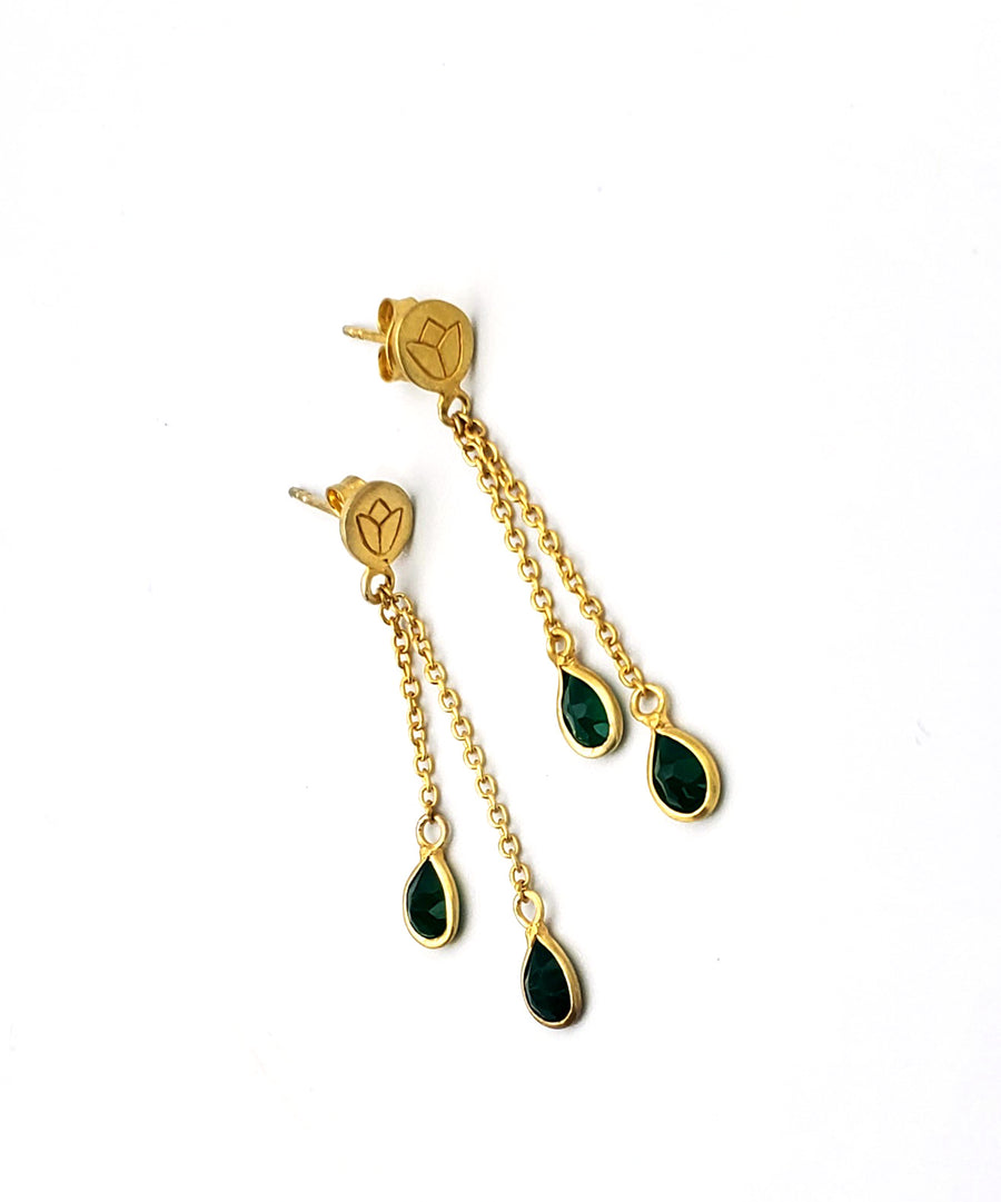 14k Gold Plated Floral Etched Post Earrings with Green Jade (PG00026)