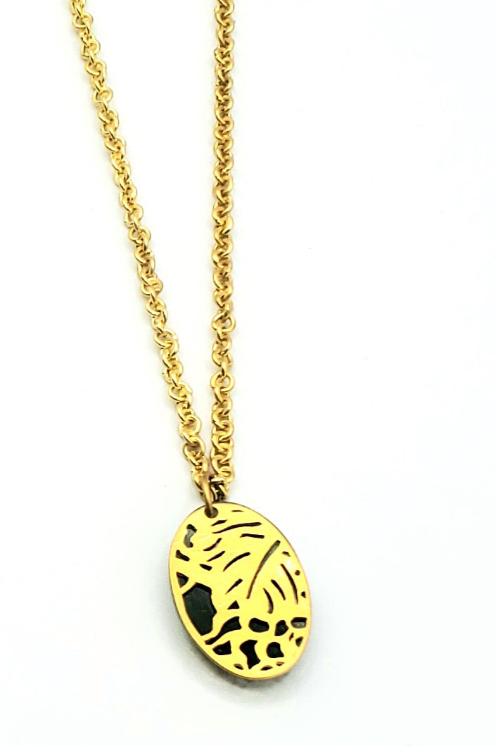 18k Gold Vermeil Translucent Resin Necklace (SG008)