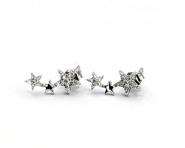 Sterling Silver Star Post Huggie Cuff Earrings (ST0005)