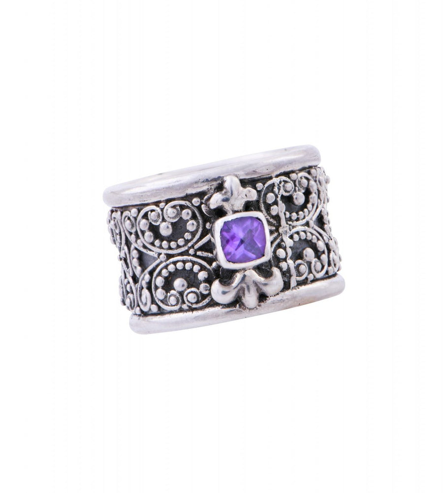 Filigree Sterling Silver Amethyst Ring (G8R1AM)