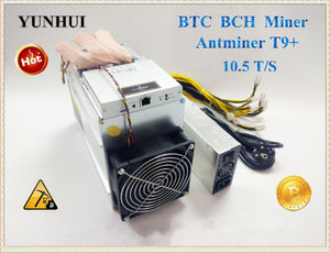 Used AntMiner T9+ 10.5T Bitcoin Miner Asic Miner Newest 16nm Btc BCH Miner Bitcoin Mining Machine Economic Than Antminer S9