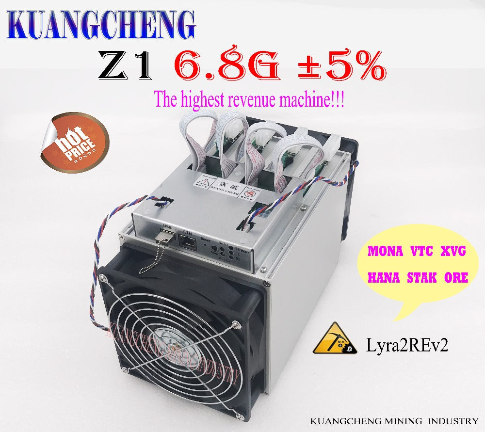 World's most earnings higher Lyra2REv2 ASIC miner Zig Z1 hashrate 6.8GH/S MONA VTC HADC better than Antminer S9 S7 L3 Z9 mini - Mining Bonanza
