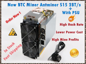 Used BITMAIN BTC BCH SHA-256 Miner AntMiner S15 28T With PSU Bitcoin Miner Better Than S9 S9i S9j T9+ WhatsMiner M3 M10 M10S