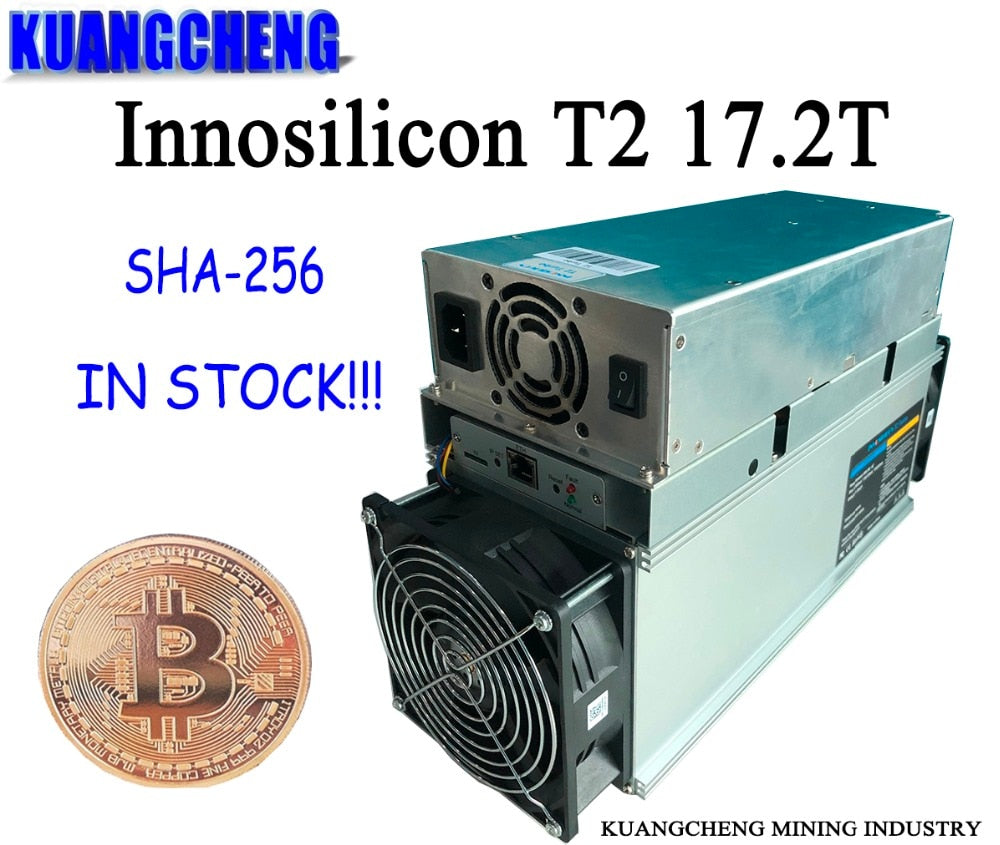 SHA256 miner Innosilicon T2 (One machine)17.2T ASIC Miner BTC mining machine 10nm free shipping with power supply - Mining Bonanza