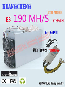 Asic Ethash Ethereum ETH Miner Antminer E3 190MH/S With Power Supply Mining ETH ETC Better Than 6 8 12 GPU Miner S9 Z9 S15 Z11 - Mining Bonanza