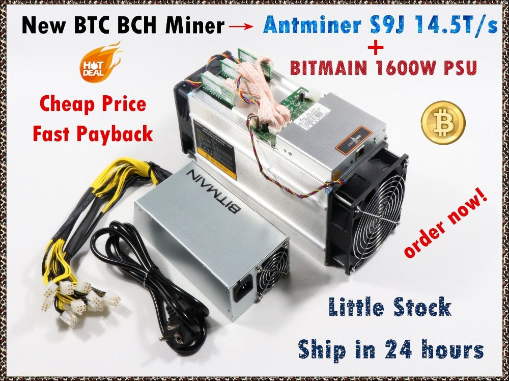 Newest BTC Miner AntMiner S9j 14.5T With BITMAIN APW3++ 1600W PSU Btc BCH Miner Better Than Antminer S9 S9i 13.5T 14T T9+ S11 - Mining Bonanza