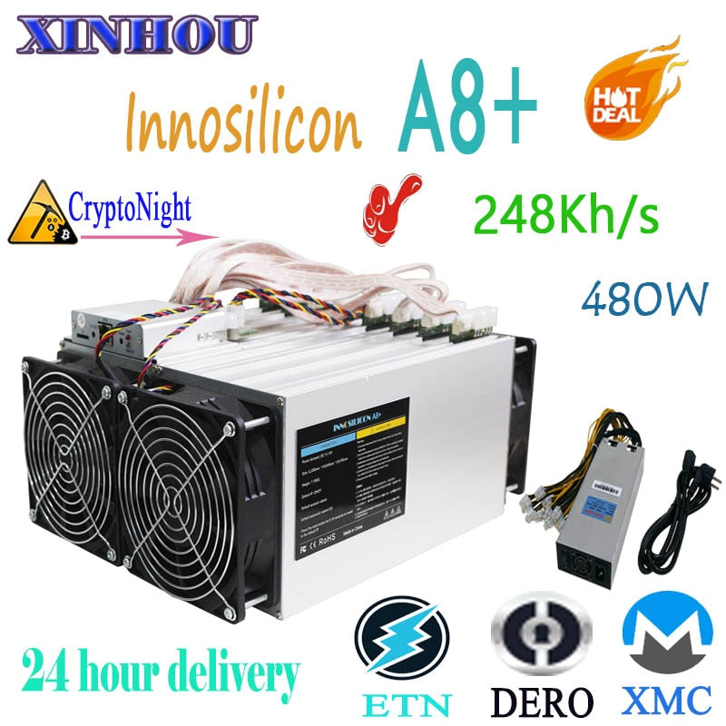 XMC ETN DERO Miner Innosilicon A8+ Cryptonight 240KH/S 480W ASIC miner with PSU Better than A9 antminer X3 S9 Z11 baikal G28 m3X - Mining Bonanza
