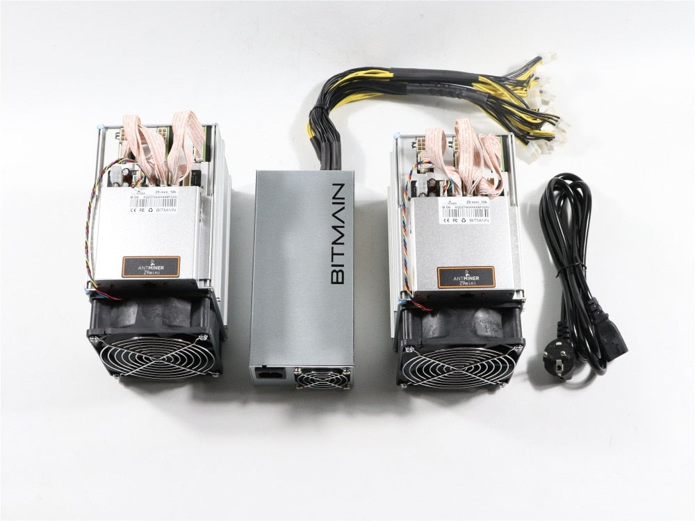 In stock 2pcs Used ZCASH Miner Antminer Z9 Mini 10k Sol/s 300W With 1pc Bitmain APW3 1600W PSU Good Profit better than A9 S9 - Mining Bonanza