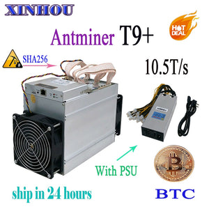New AntMiner T9+ 10.5T Bitcoin Miner with 1800W PSU Asic BTC BCH Miner Better Than Antminer T9 V9 Whatsminer M3 M10 - Mining Bonanza