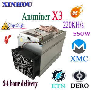 Used Bitmain Antminer X3 220KH/S CrptoNight ASIC Miner ETN XMC DERO Mining Better than Antminer S9 T17 B7 A8 A9 whatsminer M3X