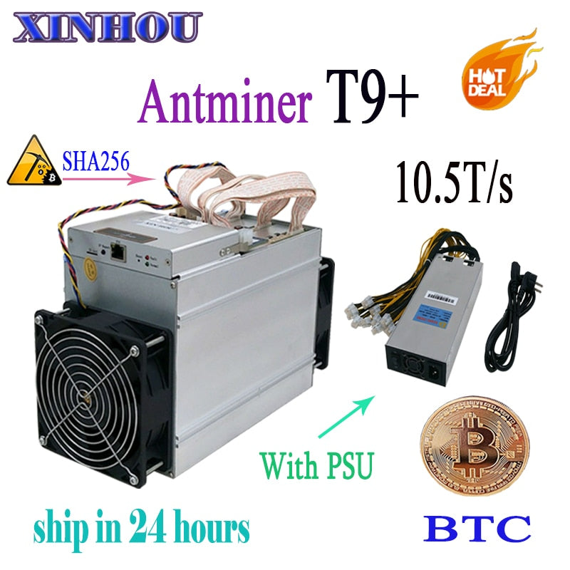 Used BCH BTC Miner AntMiner T9+ 10.5T Asic SHA256 16nm With PSU In stock! More economical than antminer S9  Z9 DR3 V9 M3