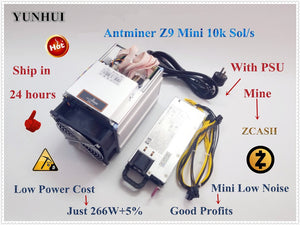 Used Economic ZCASH Miner Bitmain Antminer Z9 Mini 10k Sol/s 300W With 750W PSU Asic Equihash Miner,High Profits