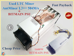 Used ANTMINER L3++ 580M With BITMIAN PSU Scrypt Miner LTC Litecion Mining Machine Better Than ANTMINER L3+ S9 Innosilicon A4 A6