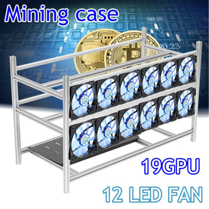 Stackable Open Air Mining Rig Frame Miner Case For 19 GPU ETC BTH 3 Power Supply New Computer Mining Case Frame Server Chassis - Mining Bonanza