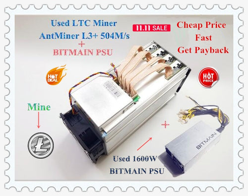 Used LTC Scrypt Miner ANTMINER L3+ 504M With BITMAIN APW3 1600W Litecoin Miner 504M 800W On Wall Better Than ANTMINER L3 - Mining Bonanza