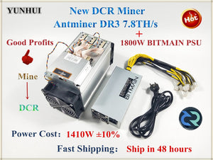 Asic DCR Miner Antminer DR3 7.8TH/S With BITMAIN APW7 1800W PSU Better Than S9 S9j WhatsMiner D1 Innosilicon D9 FFMINER IBeLink - Mining Bonanza