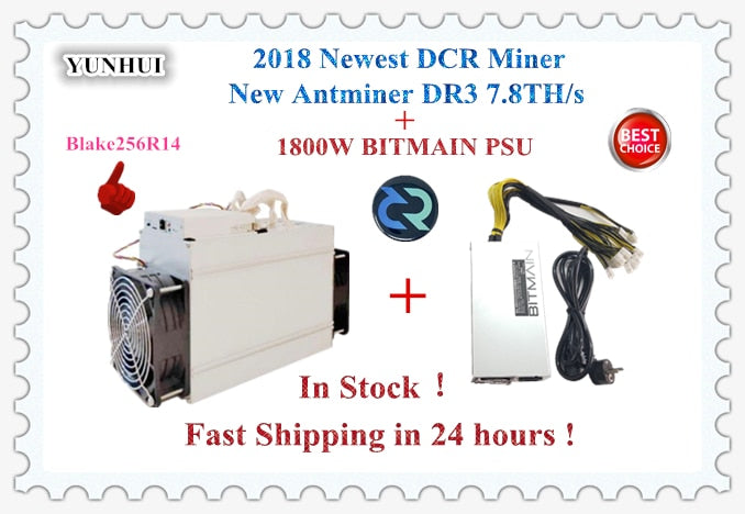 Newest Asic DCR Blake156R14 Miner Antminer DR3 7.8TH/S With BITMAIN APW7 1800W Power Supply Better Than Z9 S9 S9j - Mining Bonanza