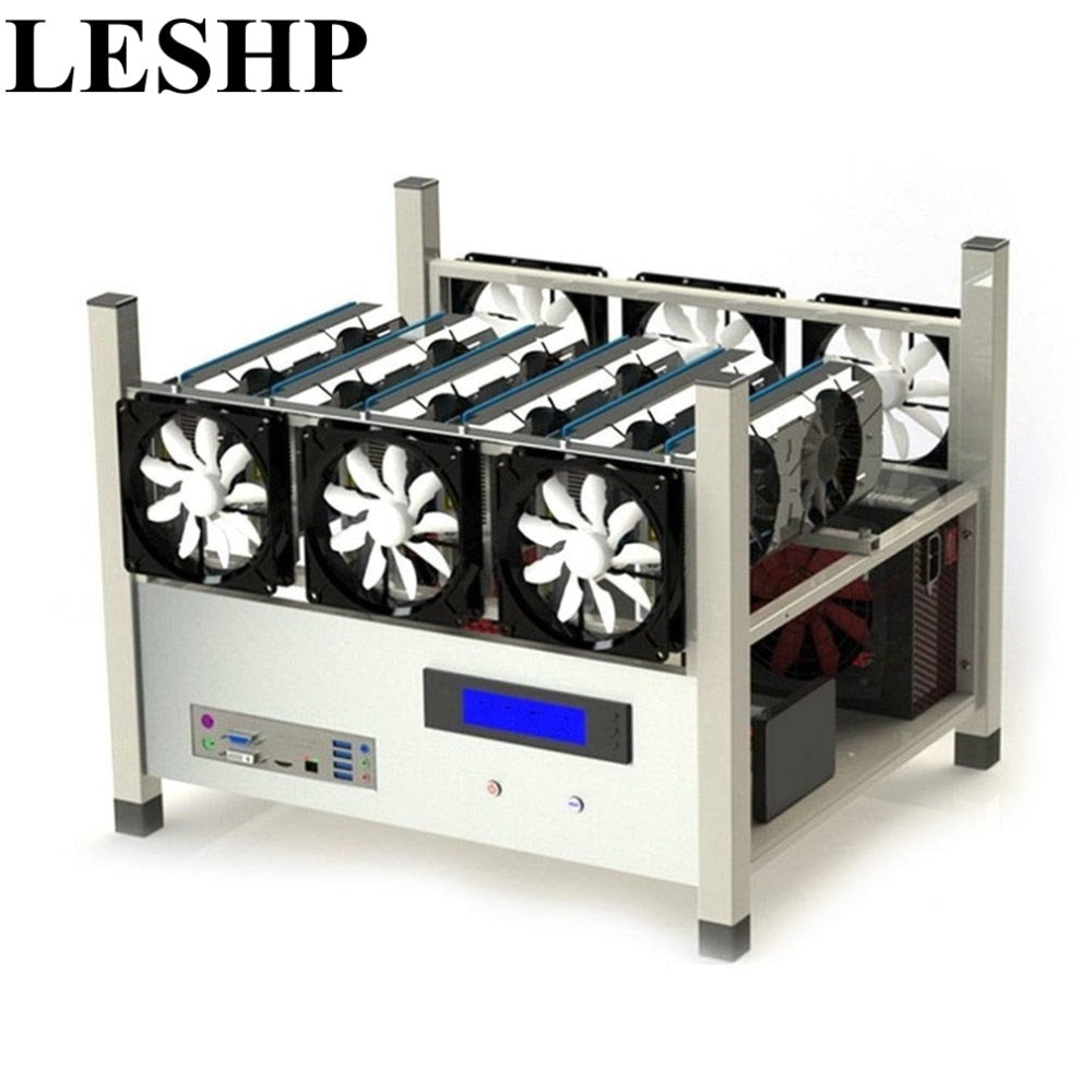 Compatible 6 GPU Open Air Mining Case Computer ETH Miner Frame Rig With 6 Fans And Temp Monitor System Good Heat Dissipation - Mining Bonanza