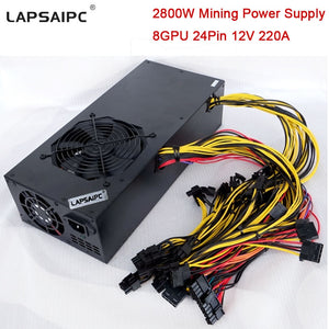 2800W Mining Miner Power Supply for Eth Rig Ethereum Bitcoin Miner Machine 220A 12V Support 6 GPU 8 GPU 12 GPU 24Pin in Stock - Mining Bonanza