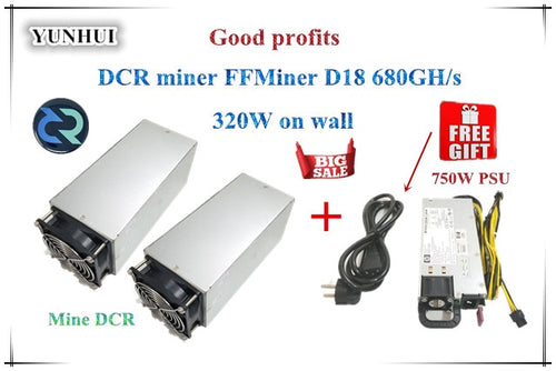 1 set FFMiner D18 680GH/S 320W Cost-effectiveness is higher than Innosilicon D9 for DCR With One pc 750W PSU fast ship - Mining Bonanza