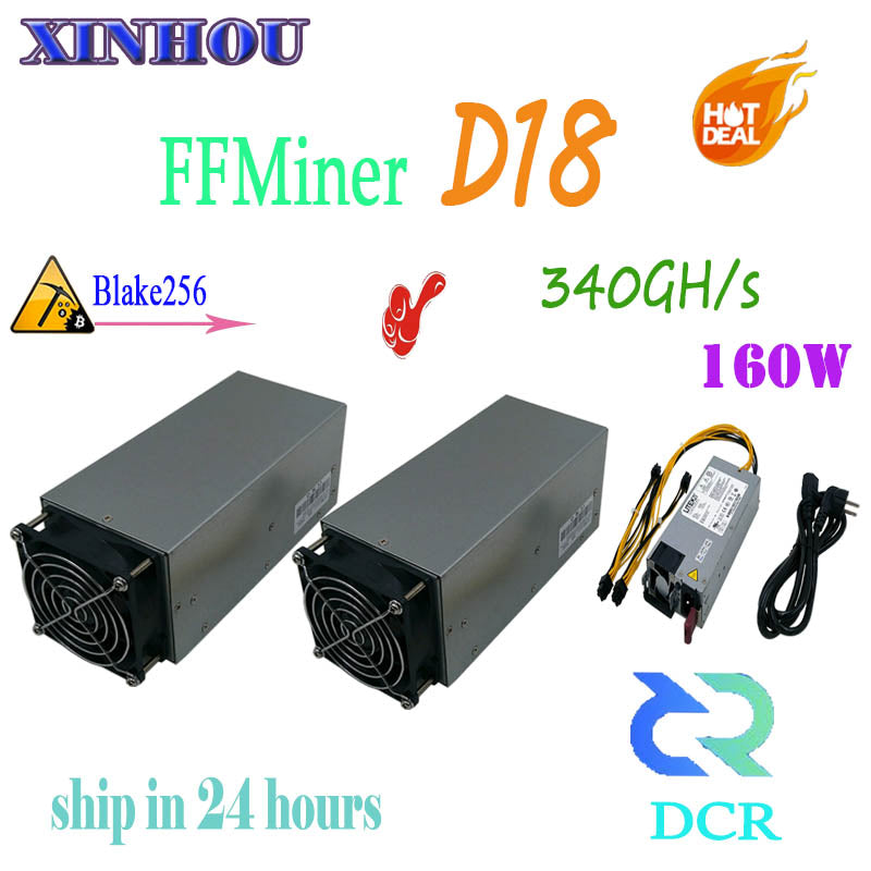 FFMiner D18 340GH/S 160W mini and low noise for DCR home-mining machine ASIC Blake256 miner Better than antminer s9 DR3 DR5 D9 - Mining Bonanza