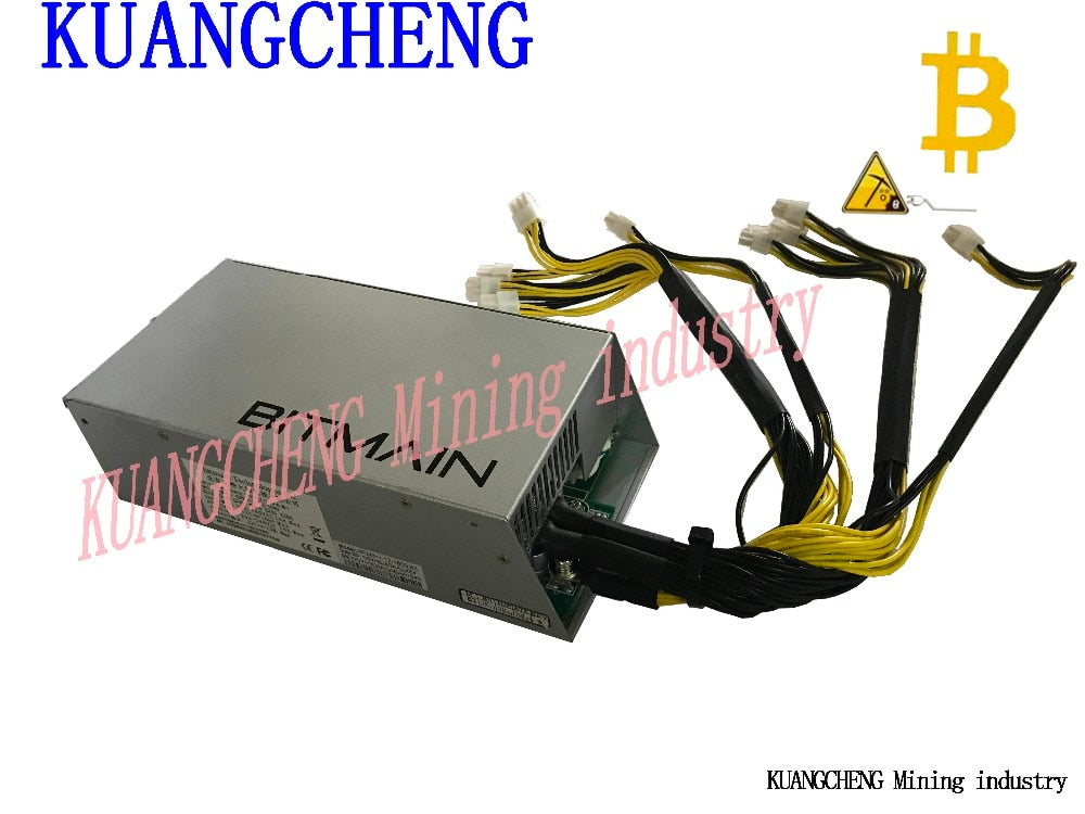 KUANGCHENG AntMiner 1600W APW3 + power, suitable for bitmain S9, S7, S5, S4, L3 +, or D3 btc DASH ltc MINERS free shipping - Mining Bonanza