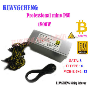 KUANGCHENG ETH ZCASH MINER 90Gold 1800k BTC power supply for R9 380  390 370 RX 470 RX480 6 GPU CARDS ETH MINER - Mining Bonanza