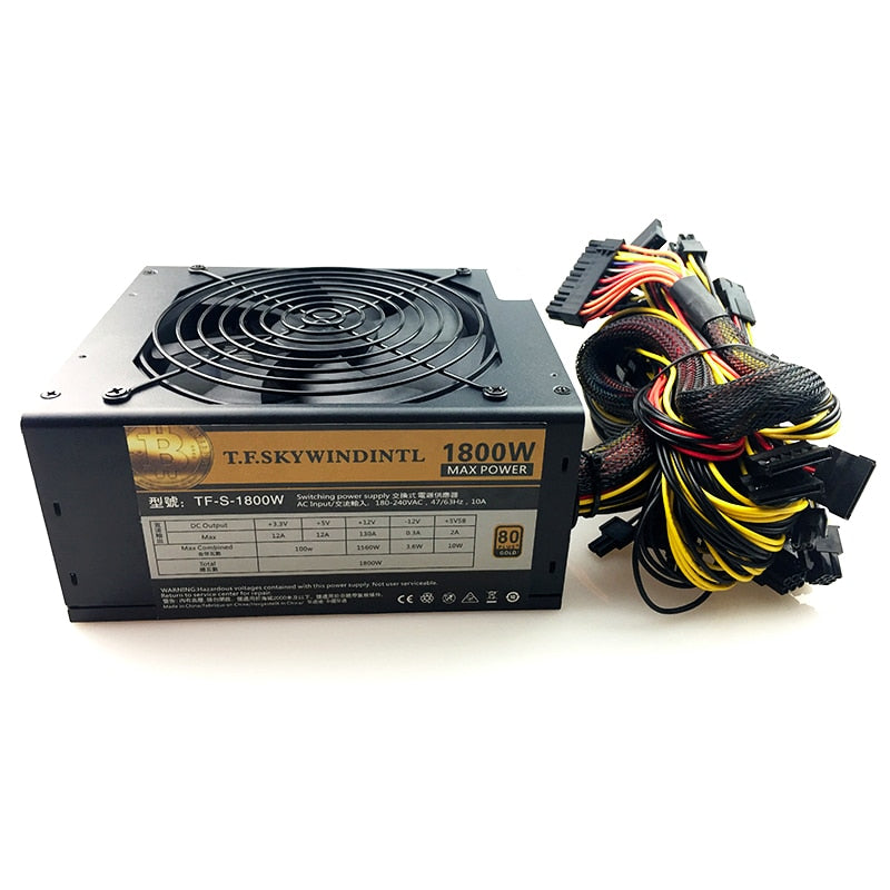 1800W ATX12V V2.31 ETH Coin Mining Miner Power Supply 1800W PSU Support 6 graphics cards for bitman for miner RX470/480 RX 570 - Mining Bonanza
