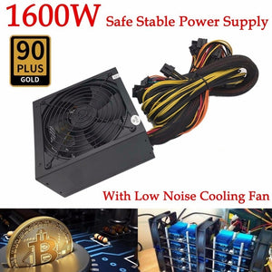 1600W Modular Power Supply For 6 GPU Eth Rig Ethereum Coin Mining Miner 90 Gold High Quality Computer Power Supply For BTC - Mining Bonanza