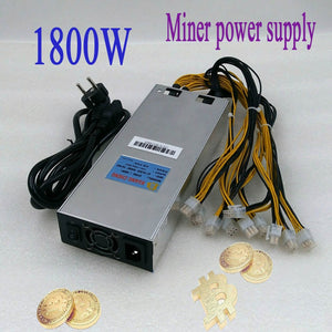 ASIC miner BTC LTC miner power AP188c1800W 12V powr supply 6pin Suitable for Antminer S9 T9 Z9 L3 DR3 baikal G28 Innosilicon A9 - Mining Bonanza