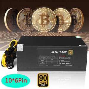 Gold POWER 90 PLUS 1600W 12V 150A BTC Miner Power Supply ETH Computer Mining Power Supply Fan Full Module For Ethereum Bitcoin - Mining Bonanza