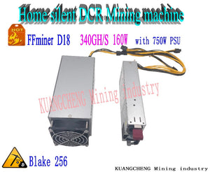 KUANGCHENG FFMiner D18 Decred miner 340GH/s Blake256 DCR mining machine 340G low noise home-mining machine (with 750W PSU) - Mining Bonanza
