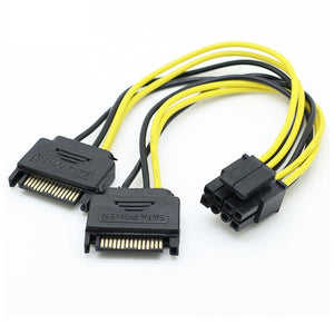 Dual SATA 15pin to 8pin Graphic Card Power Adapter Cable 20cm PCIE SATA Power Supply Cable 8p to SATA for Bitcoin Miner Mining - Mining Bonanza
