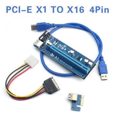 PCI-E 1X to 16X Riser Card 6Pin 4Pin PCIE USB3.0 SATA Extension Adapter Card Power Cable 60cm for Bitcoin Miner Mining BTC - Mining Bonanza