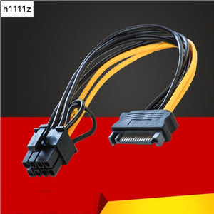 NEW Single SATA 15pin to 8pin(6+2) Powr Adapter Cable 20cm PCI-E SATA Power Supply 15-pin to 8 pin cable for BTC Miner Mining - Mining Bonanza