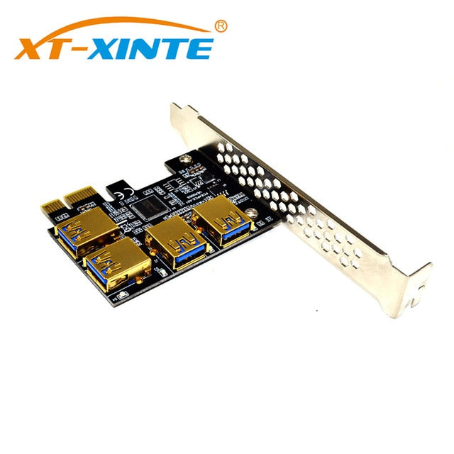 PCI-E 1x to 16x Riser Card PCI-Express 1 to 4 Slot PCIe USB3.0 Adapter Port Multiplier Miner Card for BTC Bitcoin Mining - Mining Bonanza