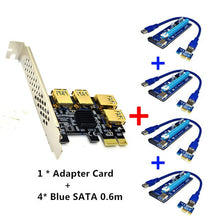 Load image into Gallery viewer, PCI-E 1x to 16x Riser Card PCI-Express 1 to 4 Slot PCIe USB3.0 Adapter Port Multiplier Miner Card for BTC Bitcoin Mining - Mining Bonanza