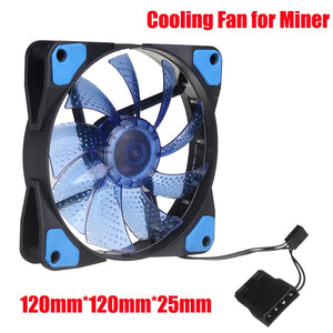 LED Light CPU Cooling Fan 4 PIN PC Computer Cooler Case Graphics Card GPU High Air Flow Cooling Fans For Miner Mining Rig Case - Mining Bonanza