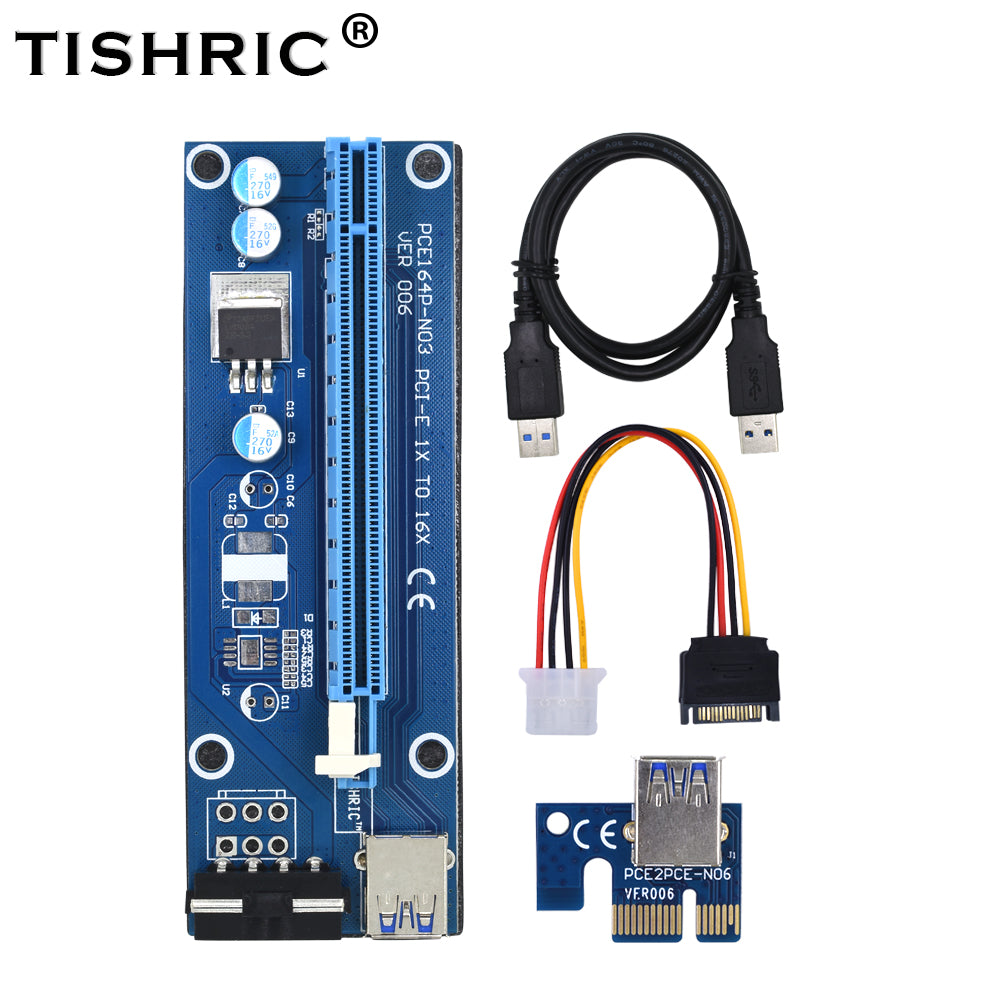 TISHRIC Ver006 PCI Express Riser Card 1x To 16x Usb3.0 Cable 60cm PCI-E Extender Sata To 4pin Molex Power For Btc Miner Machine - Mining Bonanza