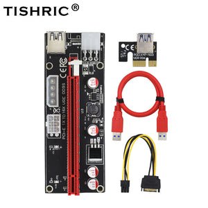 TISHRIC New Arrival VER 009S Riser Card PCIE PCI-E PCI Extension Cable 4Pin Molex 6Pin 1X to 16X With LED for BTC Miner - Mining Bonanza