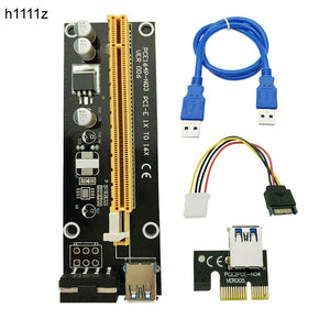 H1111Z 60cm PCI-E extender PCI Express Riser Card 1x to 16x USB 3.0 SATA to 4Pin IDE Molex Adapter for Mining Bitcoin Miner - Mining Bonanza