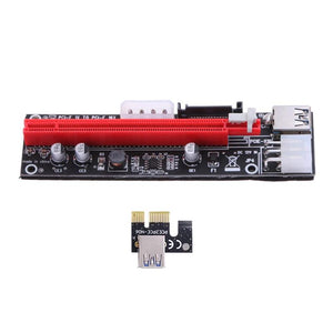PCI-E 1X to 16X Extender Riser Card 4Pin 6Pin 15Pin Power Wire for BTC Miner