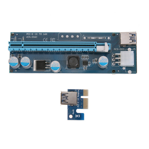 006C PCI-E PCI Express 1X To 16X Extender Graphics Riser Card Adapter 6Pin Power Port For BTC Miner Mining - Mining Bonanza