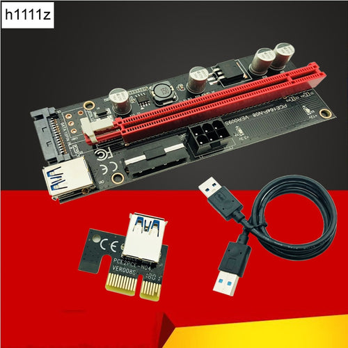 009s PCIe Riser PCI-E 1x to 16x Extender 60cm USB3.0 Cable SATA to 6Pin 4pin molex SATA Power riser card for ETH Dogecoin Mining - Mining Bonanza