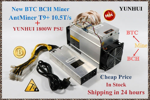 Ship in 24 hours Used AntMiner T9+ 10.5T Bitcoin Miner (with  PSU)Asic Miner Newest 16nm Btc BCH Miner Bitcoin Mining Machine - Mining Bonanza