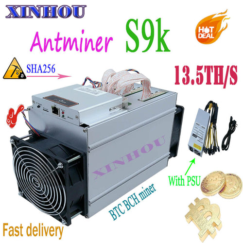 New bitcoin BTC BCH miner AntMiner S9K 13.5T SHA256 Asic with PSU better Than Antminer S9 T9+ R4 Ebit E9i Innosilicon T1 M3 M3X - Mining Bonanza